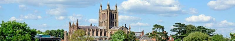View of the Cathedral, Hereford, Herefordshire, England, UK