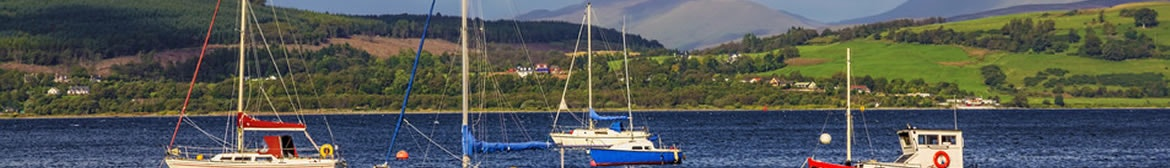 Boats in the Gourcock bay on the river clyde near Inverclyde