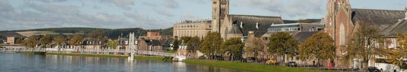 Waterfront and bridge in Inverness UK