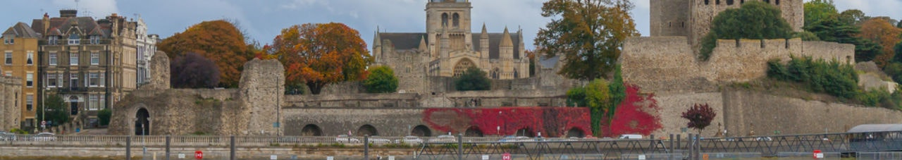 rochester castle and cathedral kent uk viewed across the river medway