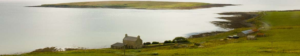 Typical landscape in Orkney island Scotland