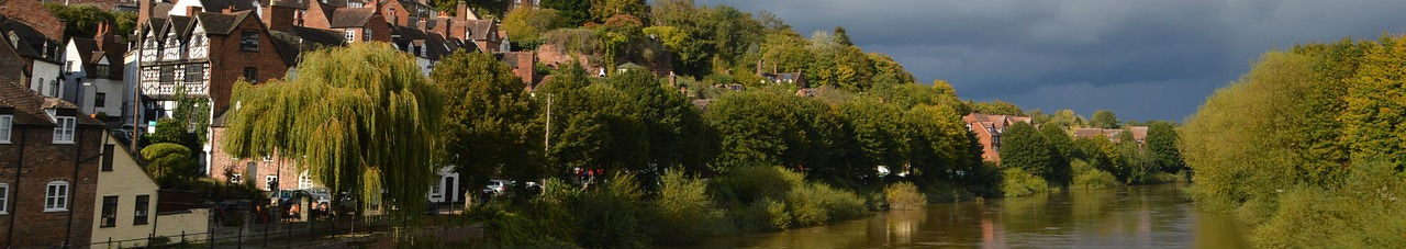 bridgnorth river shropshire high water sunset