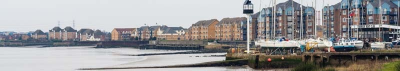 View on the gray riverside in Essex in Thurrock UK